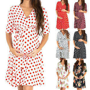 Maternity-Pregnant-Women-Floral-Short-Sleeve-Dress-Summer-Casual-Holiday-Clothes