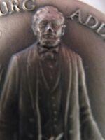 1+OZ..925 LONGINES SILVER ABE LINCOLN 1863 GETTYSBURG ADDRESS & BATTLE COIN+GOLD
