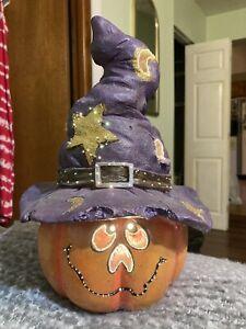 "12"" Halloween Fiber Optic Pumpkin with Witch Sorcerer  Hat Jack O' Lantern MIB"