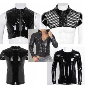 Men-Latex-Leather-Long-Sleeve-Shirt-Front-Zipper-Short-Crop-Top-T-shirt-Clubwear