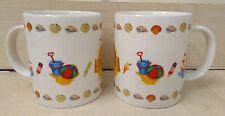 Pair of Summer Holiday Beach Bone China Mugs