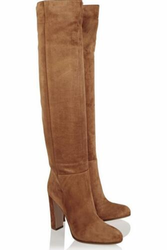 Chunky bruine de op chique Elegante schoenen dame hoge slip hak Suede knie laarzen qXROIaw