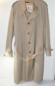 Misty-Harbor-Men-039-s-42-Long-Wool-Lined-Overcoat-Trench-Coat-Tan-brown