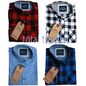 Mens-Shirts-Check-Work-Flannel-Brushed-Cotton-Lumberjack-Long-Sleeve-Casual