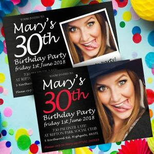 photo birthday invitations invites personalised envs 50th 60th