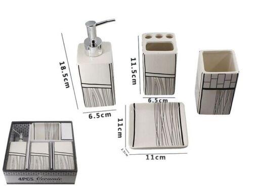 Set 4 Accessori Bagno Ceramica PortaSapone Porta Spazzolino Dispenser 52106 dfh