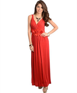 Sexy-Party-Cocktail-Club-Cruise-Maxi-Dress-w-Fabric-Roses-Black-or-Red
