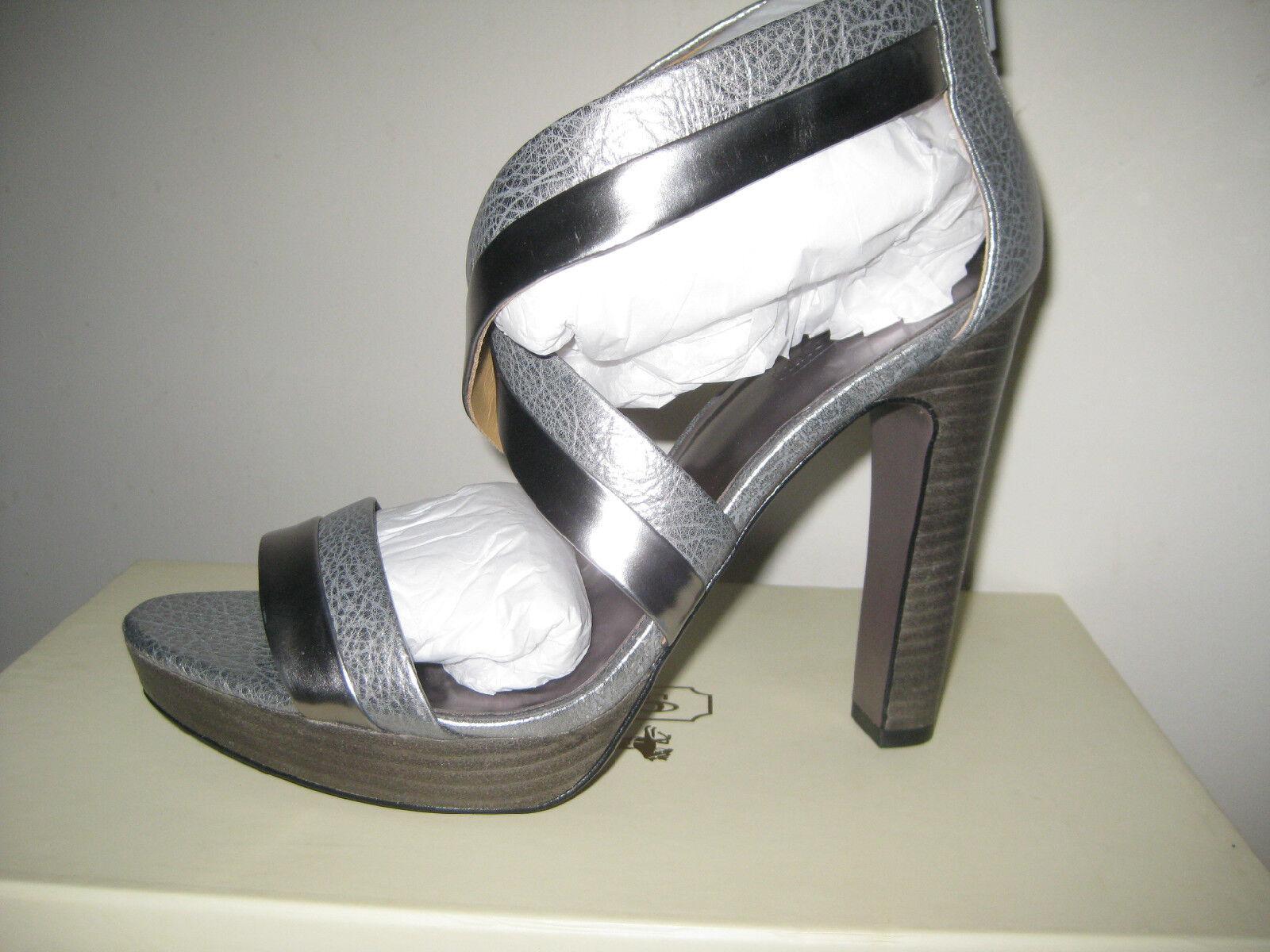NEW COACH BRYNN CUBA Metallic Pewter Silber schuhe  218 Stacked Sandals 3723
