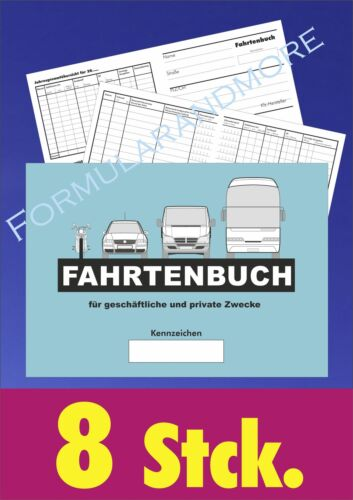 Fahrtbeleg Fahrtenheft,Fahrtbericht 10 Stück FAHRTENBUCH,FAHRTENBÜCHER DIN A6