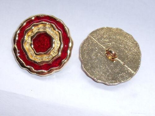 6 Stück Metallknöpfe Knopf Knöpfe Ösenknopf  25 mm gold-rot NEU rostfrei #851.2#