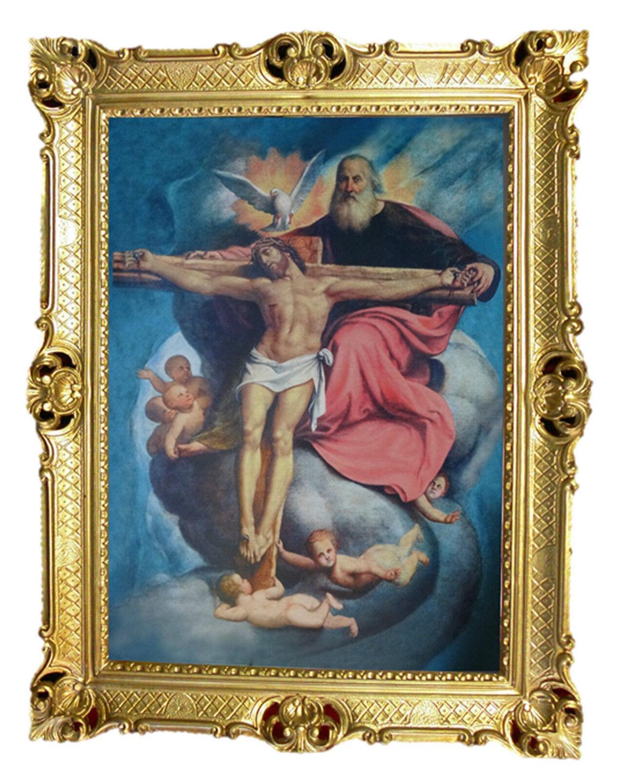 Heiligenbild mit Rahmen GEMÄLDE JESUS AM KREUZ Kruzifix ANTIK BAROCK 90x70cm