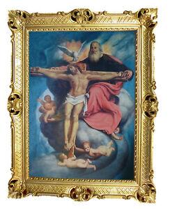 Immagine-sacra-con-telaio-quadro-gesu-su-Croce-Crocifisso-antico-barocco-90x70cm