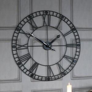 Large Round Black Metal Skeleton Wall Clock Battery living room kitchen hallway