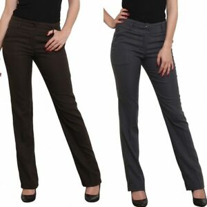 best choice premium selection arriving Details about Women's straight leg Tailored Office style Work Trousers  Pants Grey Brown 8-16
