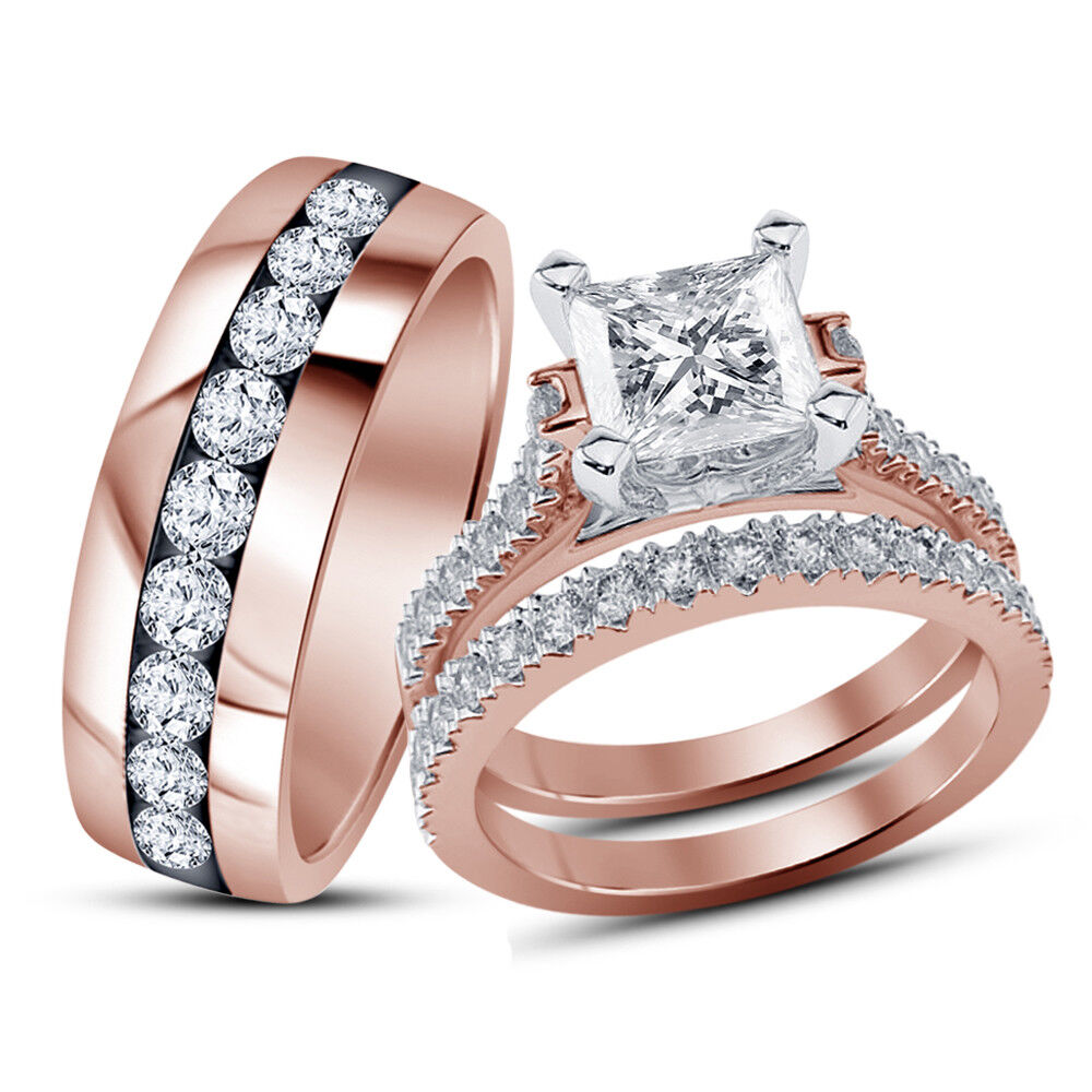 Rose Gold Over Princess Diamond Engagement Ring Wedding