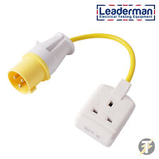 Leaderman PAT Testing Adaptor 110v 16a Plug to 240v 13a 1 Gang Socket Adapter