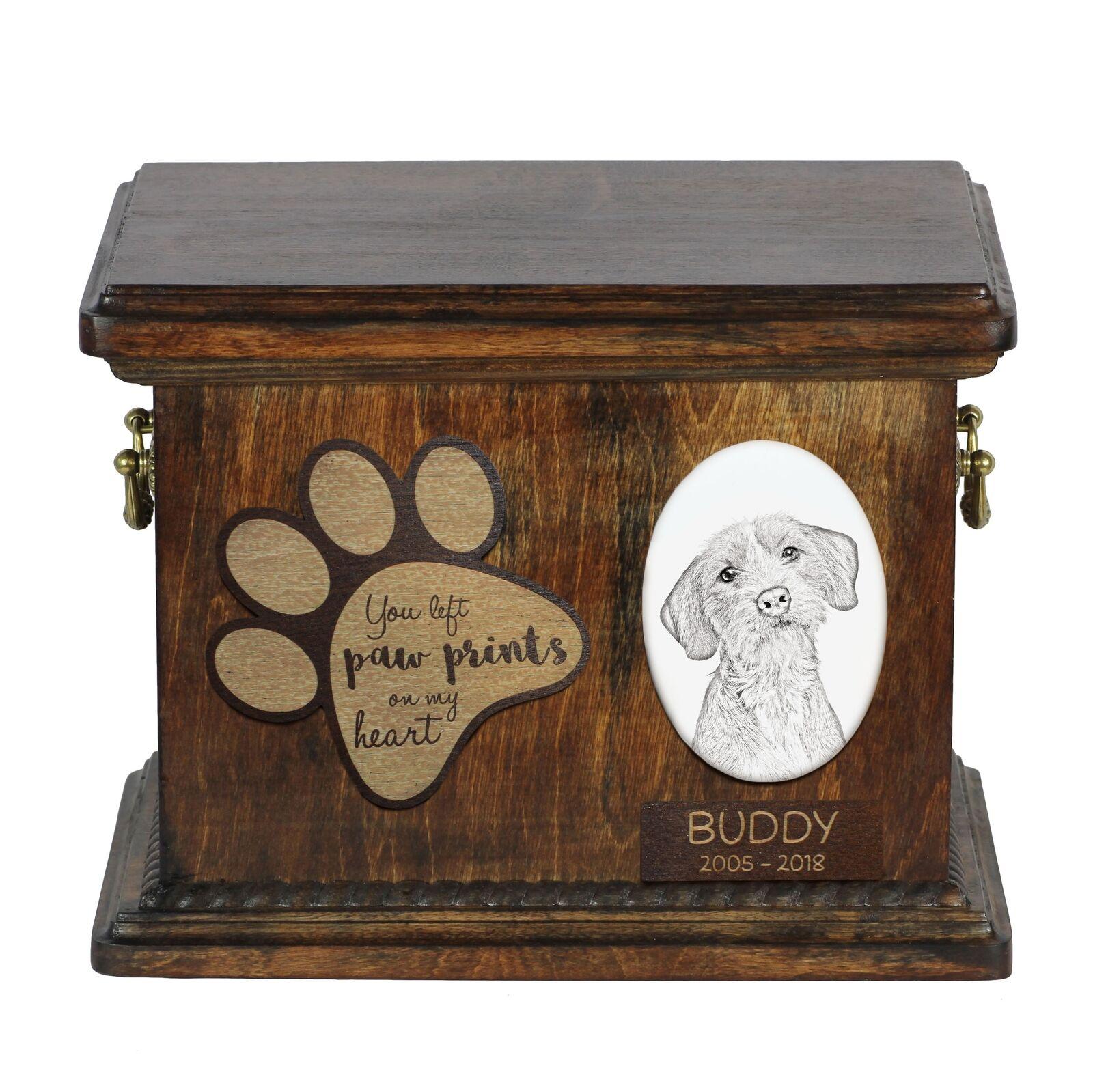 Basset Fauve de Bretagne - Urn for dog's ashes with ceramic plate, Art Dog
