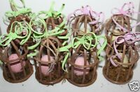 Pier 1 Imports Lot Of 8 Easter Tree Ornaments Natural Bird Cages W/ Eggs
