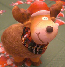 Weihnachten Rentier Elch Fell Stoffschal 10x10 cm Kopf rechts Keramik Deko Neu
