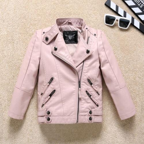 Spring Toddler Kids Girl/'s Black Faux Leather Warm Biker Jacket Coat Age 2-14