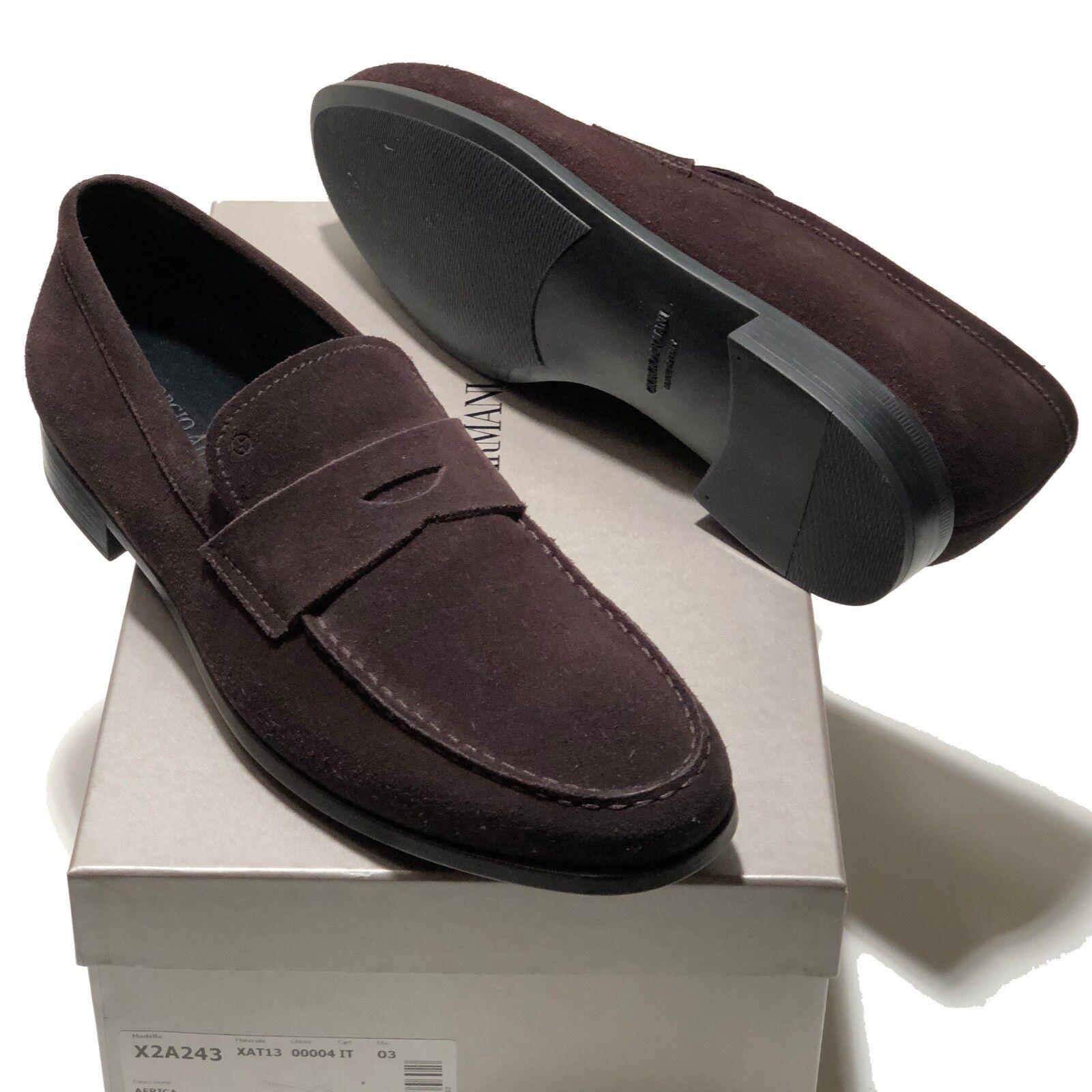 risparmia il 60% di sconto NEW Giorgio Armani Uomo Marrone Penny Suede Leather Fashion Loafers Loafers Loafers scarpe Casual  il miglior servizio post-vendita