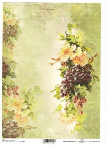 Rice Paper for Decoupage Scrapbooking Vintage Roses and Grapes A4 ITD R1197