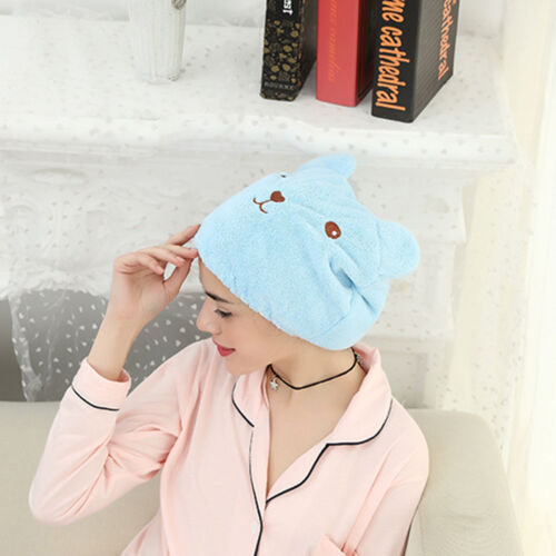 US Cute Bear Microfiber Hair Quickly Dry Hat Absorbing Turban Bathing Cap Wrap