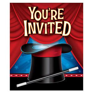 8 Magician Magic Birthday Party Invitations Invites Envelopes