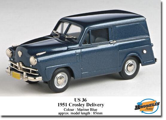 US MODEL MINT (BROOKLIN) 1951 CROSLEY SEDAN DELIVERY bleu  US 36  haute qualité authentique