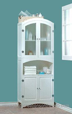 New White Wood Linen Cabinet Bathroom Storage Laundry