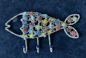 Vintage Mexican Seed Bead Wire Fish Coat Rack Hooks Wall Hanging Folk Art