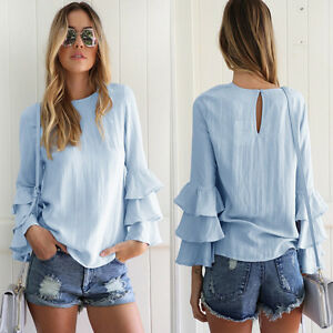 9a22b8576983 Women Summer Fall Blue Long Sleeve Casual Blouse Loose Cotton lady ...