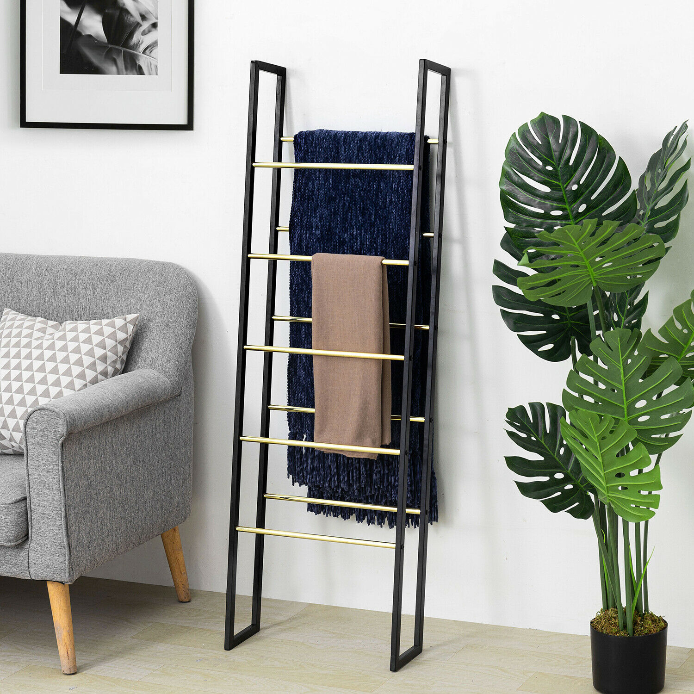 Art Deco Black and Gold-Tone Metal Wall Leaning Towel Blanket Ladder Rack