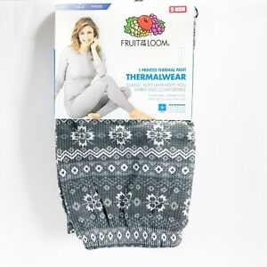 Fruit-of-the-Loom-Thermal-Womens-Pants-Grey-Flannel-Polar-Fair-Isle-Print-Size-S