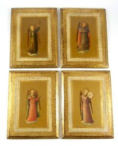 Set-of-4-Florentine-Christian-Angels-w-Musical-Instruments-Icons-Gilt-Plaque-6x8