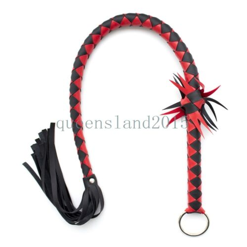 """35/"""" Slave Leather Long Snake Whip Flogger Handle Restraint Kinky Game Foreplay"""