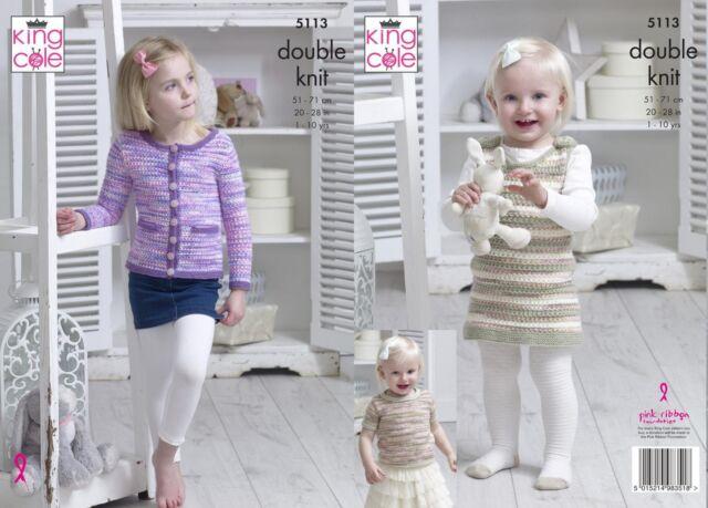 "King Cole 5113 Baby//Child/'s Cardigan,Top /& Dress DK Knitting Pattern Size 20-28/"""