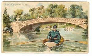 N281 Buchner Tobacco Card American Scenes Policeman Series Central Park Lake NYC