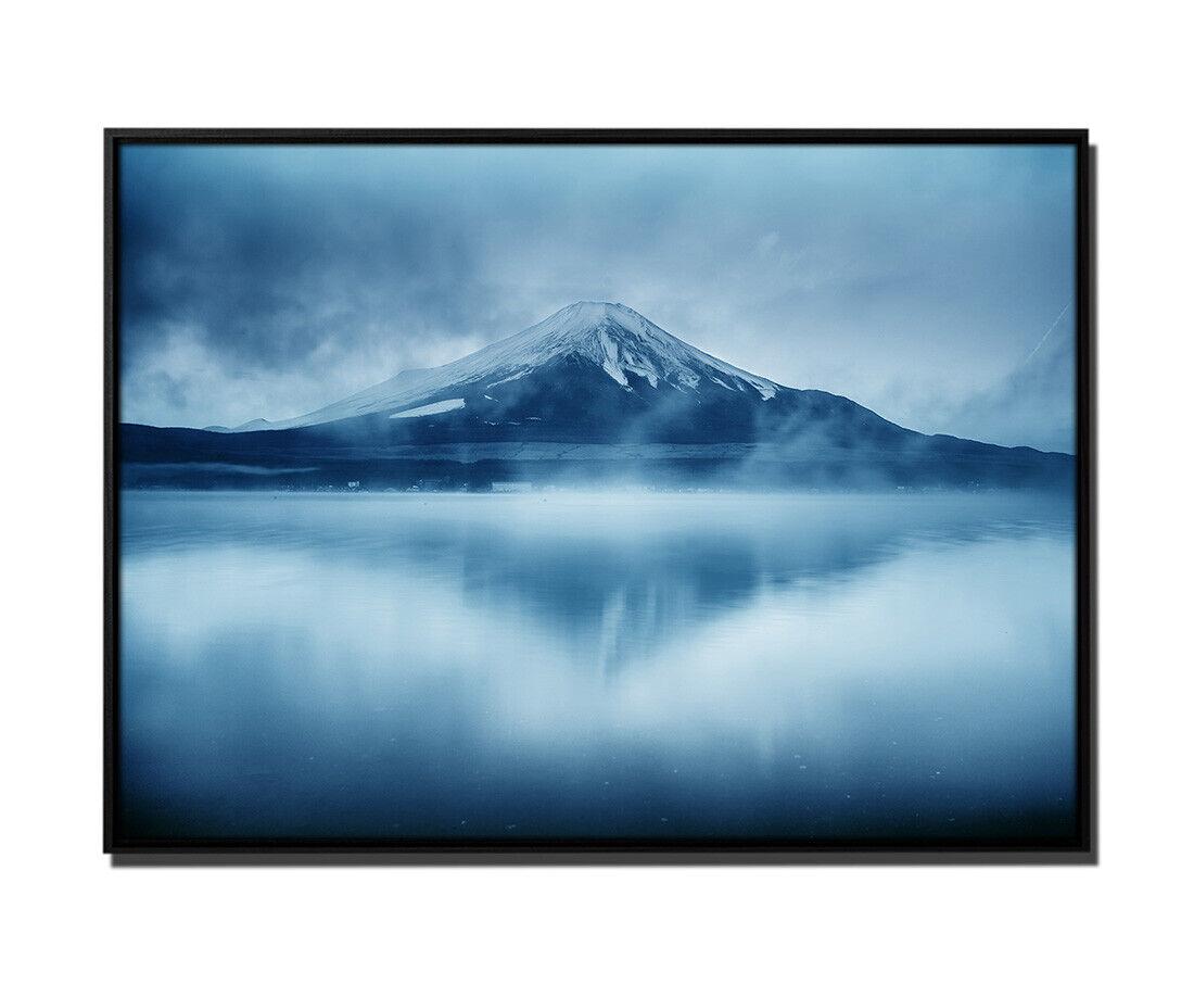 105x75cm Leinwandbild Petrol Natur Fujisan Japan.