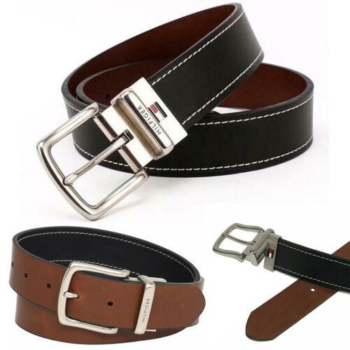 Tommy Hilfiger Men/'s 11TL08X009 Contrast Stitching Reversible Leather Belt