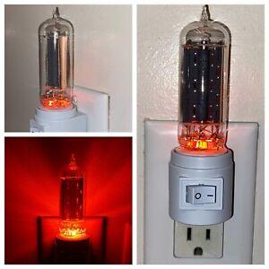 Vintage Vacuum Power Tube Amber LED NIght Light TV Ham Radio Guitar Amplifier