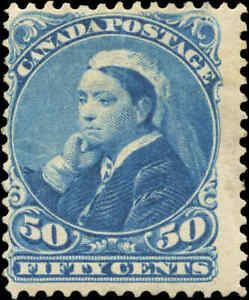 Mint-NH-Canada-1893-F-Scott-47-50c-Small-Queen-Issue-Stamp