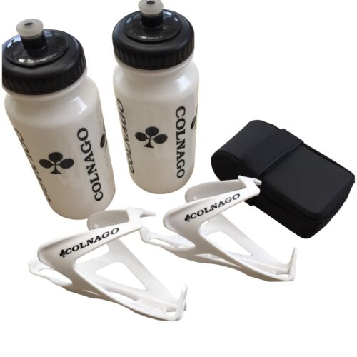 Saddle Bag New Colnago Air Combo; White Water Bottles and White Cages
