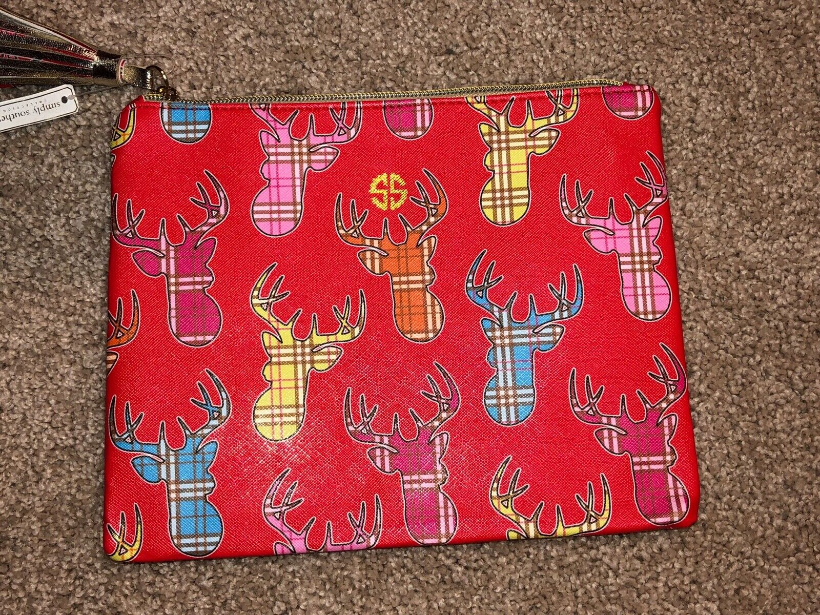 NWT Simply Southern Plaid Deer/Buck Zippered Clutch with Tassel