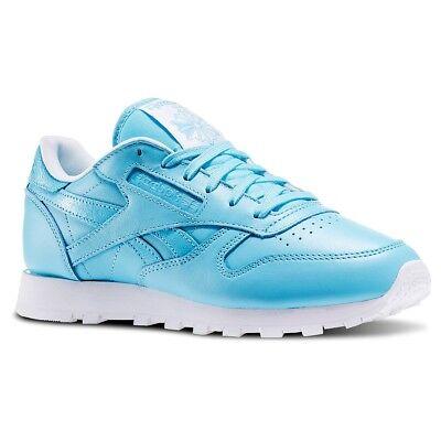 Details zu Reebok Klassisch Leder Damen Trainer Schuhgröße 4.5 Blues Weiß