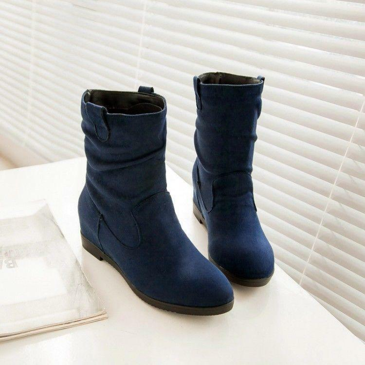 Womes round toe Fur lining pull on wedge hidden heel Faxu Suede Ankle Boots