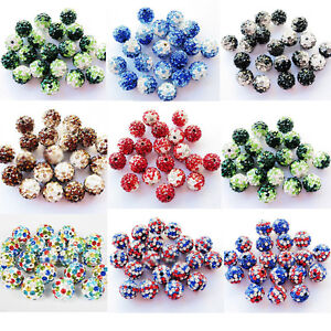 10X-Colorful-Crystal-Pave-Clay-Disco-Ball-Round-Spacer-Loose-Beads-Findings-10MM