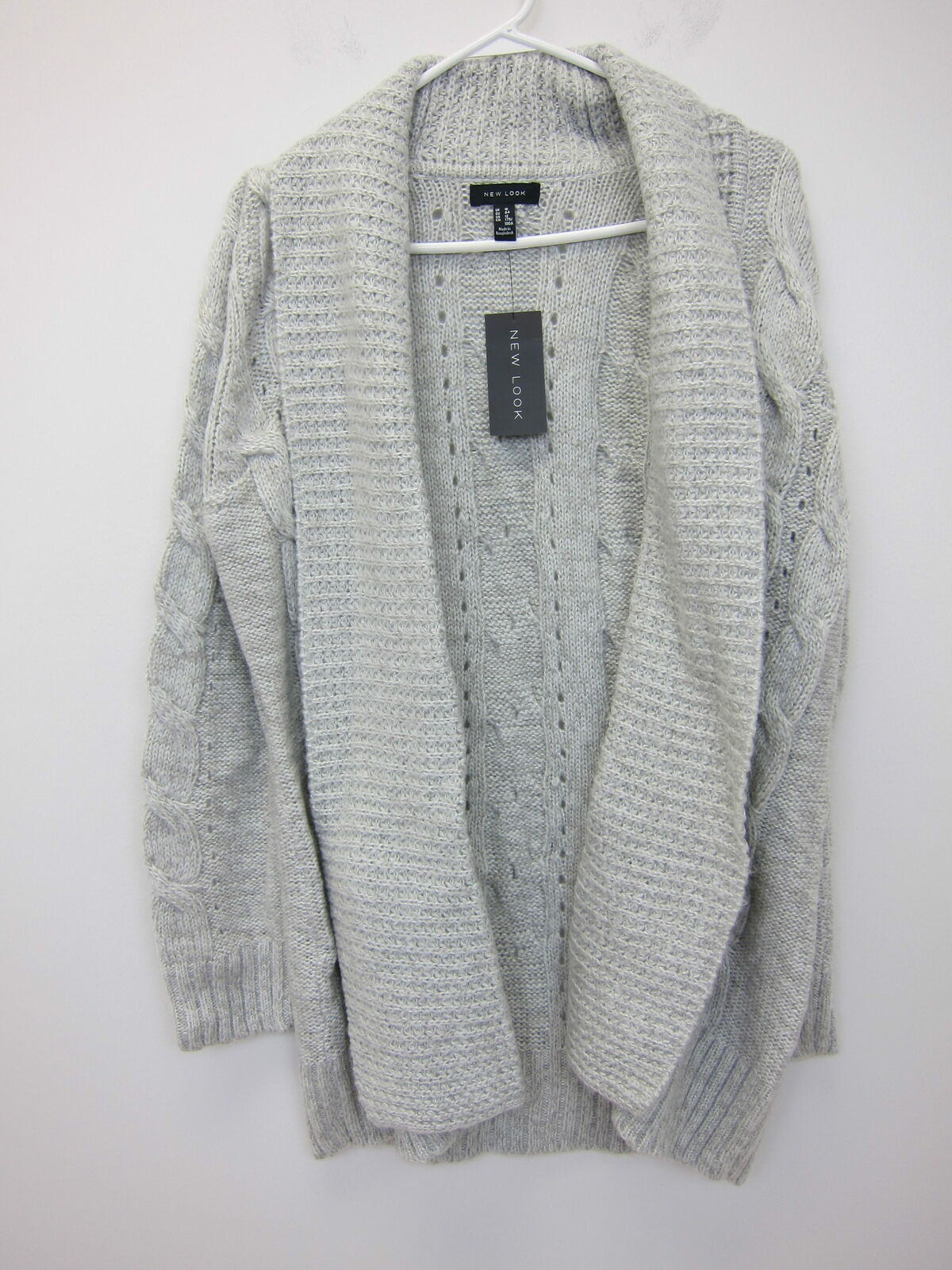 New Look Women's Cable Knit Cardigan Sweater US 12 Grey  NWT