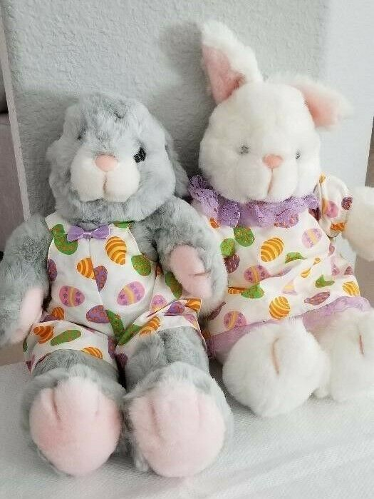 Broadway Department Store Set of 2 Bunny Rabbits in Easter Egg Outfits