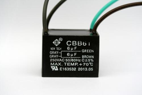 CEILING FAN CAPACITOR CBB61 6uf+6uf 4 WIRE